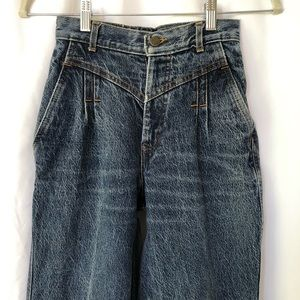 VINTAGE   Pleated front bareback 100% cotton jeans
